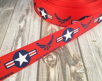 "U.S. Air Force ribbon - 7/8"" grosgrain ribbon - 3 or 5 yard lot - Air Force crafts - DIY Air Force bow - Daddy Air Force - Mommy Air Force"