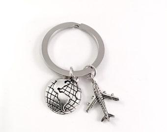 Friend Keychain, Travelers Keychain, Best Friend, Globe and airplane keychain, World Travel, long distance, travel post, World Traveler