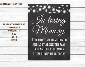 Chalkboard Wedding Sign, In loving Memory Sign, Rustic Wedding Sign, Printable Sign, Wedding Sign, Rustic Wedding, Chalkboard, Digital Sign