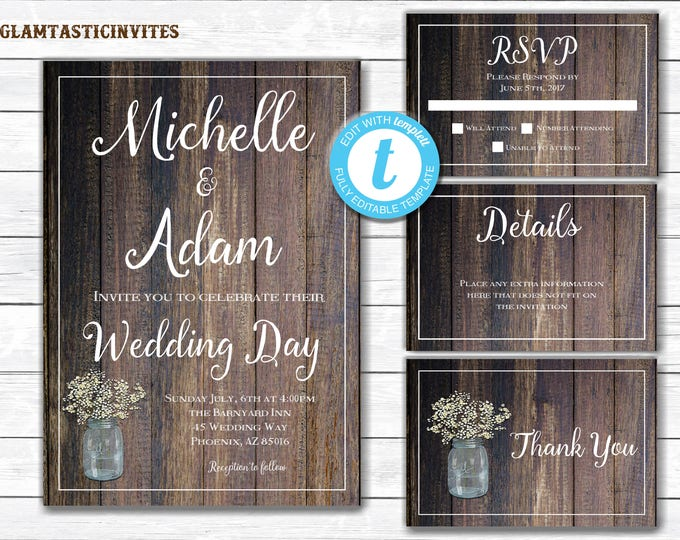Rustic Wedding Invitation TEMPLATE, Country Wedding Invitation, INSTANT Download, wedding invitation suite, Wedding Invitation Template, DIY
