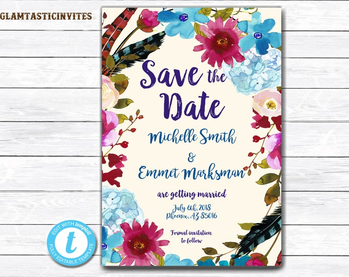 Rustic Boho Save the Date Template, Save the Date Card, Printable Save the Date, Save the Date Template, YOU EDIT, Boho, Floral, Rustic Card
