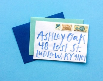 Watercolor Hand-Lettered Envelope Addressing, Non-Traditional, Modern + Fun, Wedding or Any Special Occasion
