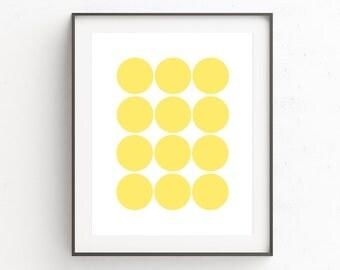 Circle Print, Circle Art, Geometric Print, Scandinavian Print, Minimalist Poster, Geometric Art, Yellow Art, Instant Download