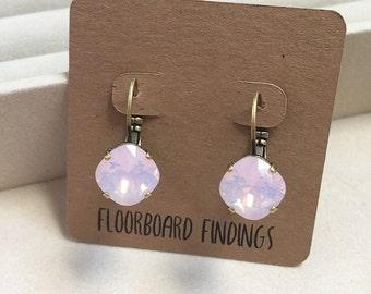 Swarovski Drop Earrings in Rose Opal