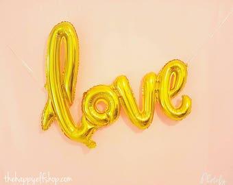 "Script LOVE Balloon 40"" Gold. Gold love balloons. Jumbo love balloon. Wedding decor. Bridal shower decor. Engagement party. Anniversary"