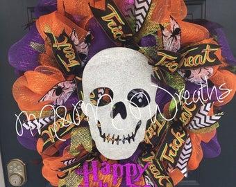 Halloween wreath, Deoc Mesh Halloween Wreath, Skull Deco Mesh wreath, Halloween Skull Wreath