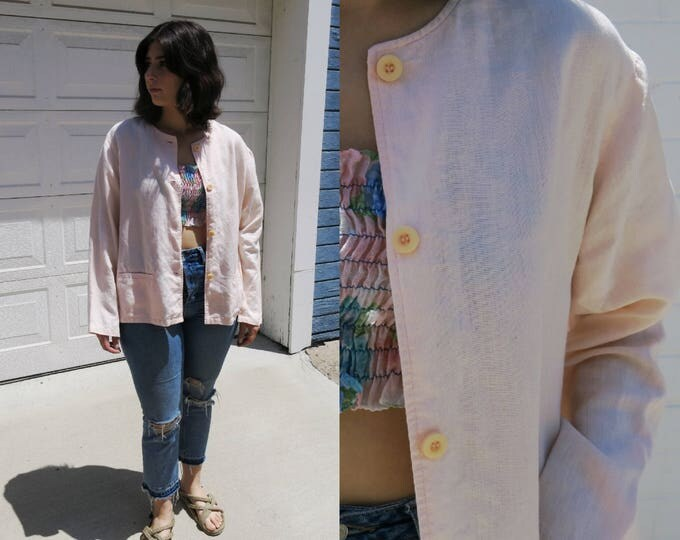 Pastel Pink Linen Jacket Collarless Liz Claiborne Shop Jacket Millennial Pink 90's Style 80's Molly Ringwald Minimalist Style Size Large