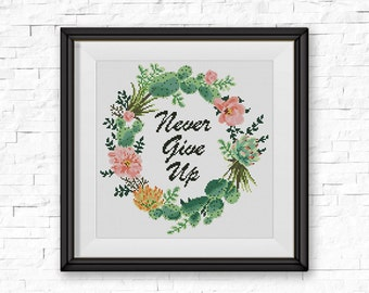 BOGO FREE! Floral Wreath Cross Stitch Pattern, Succulent Wreath Quote Counted Cross xStitch, Cactus Modern Decor, Instant Download #046-2-41