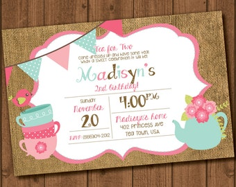Tea For Two Birthday Party Invite File