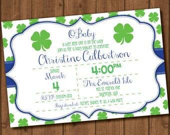 Irish St. Patrick Shamrock Green & Blue Baby Shower Invite Digital File