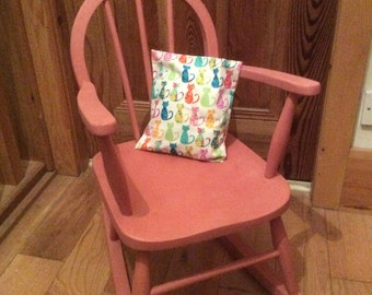 Child's vintage rocking chair, Scandinavian pink, Upcycled, vintage cat fabric cushion