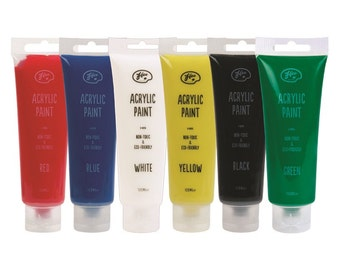 Acrylic Paints 120ml x 6 Assorted Colours