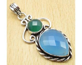 Blue Chalcedony 925 Silver Pendant-pendant blue chalcedony Gemstone Pendant-Aqua Light Blue Chalcedony-Pisces