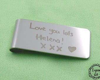 Acutal Handwriting Laser Engrave Transfer from Paper to Steel Money Clip