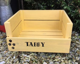 Handmade from reclaimed wooden small personalised pet bed dog bed, cat bed