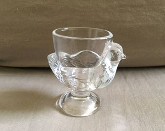 Vintage French Glass Chicken Egg Cup