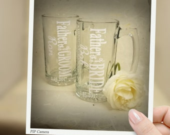 Father of the Bride, Father of the Groom beer mug set, Groomsmen, Best Man