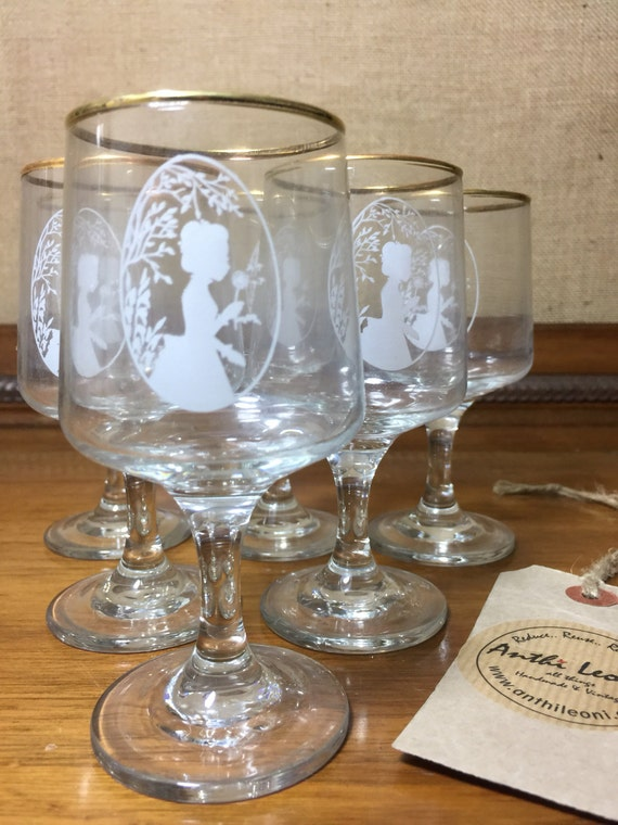 6 1970s Vintage Glass Sherry Glasses with Gold Rims by Dema - Original Box - Pretty Victorian Lady Silhouette Design- Jane Austen's Emma