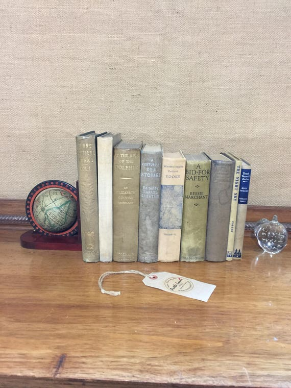 NEUTRAL GREY Blue & BEIGE  Vintage Book Collection - Old Books Decoration - Foot Long 9 Shelf Staging - Beige Home Decor - Vintage Books