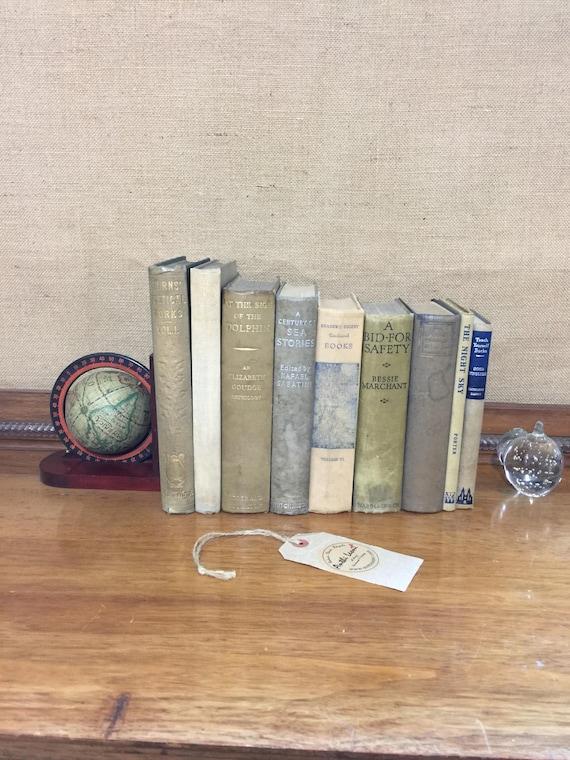 Neutral GREY BLUE & BEIGE  Vintage Book Collection - Old Books Decoration - Foot Long 9 Shelf Staging - Beige Home Decor - Vintage Book