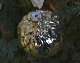 Large Pine cone ornament, Mercury glass ornament, Thick glass Christmas ornament, 1950s soviet New Year thick glass ornament
