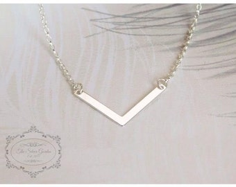 Silver Chevron Necklace, V Necklace, Sterling Silver Necklace, Charm Necklace, Birthday Gift, Gift For Her, Silver Jewellery, Silver Chain