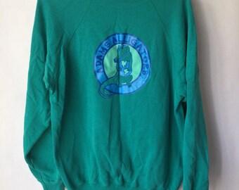Vintage Adams Alligators Pullover - Jumper- Green Sweatshirt- Size Extra Large Slouchy Sweatshirt- Planet