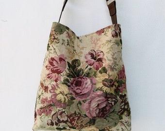 Vintage roses hobo slouch bucket shoulder handbag  bag