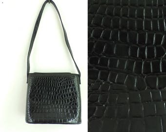Black Croc Print Bag Faux Patent Leather Bag Black Fake Leather Purse 80s Stefani Shoulder Bag Embossed Croc purse Animal Print Handbag
