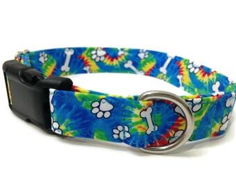 Tie Dye dog collar, Woofstock, hippie dog collar, retro dog collar, lightweight dog collar, paw print dog collar, bone dog collar,