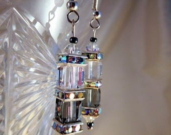 Sterling silver Swarovski Crystal cube drop earrings