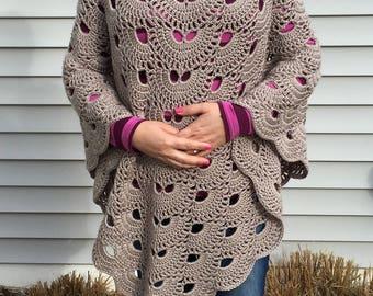 Crochet Gray Poncho