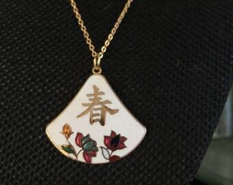Cloisonne pendant, white cloisonne pendants, vintage cloisonné jewelry, Asian pendants, vintage cloisonné, white cloisonne,  N199