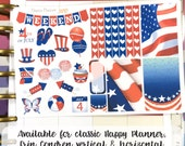 Fourth of July 4th sampler stickers - for Happy Planner, Erin Condren Vertical and Horizontal - americana fourth july summer red white blue