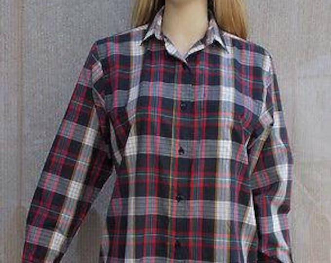 Vintage 80s Preppy Womens Diane Von Furstenberg Red White Blue Cotton Blend Plaid Long Sleeve Shirt Size 8