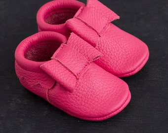 Pink bow moccasins Baby leather mocs
