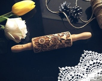 FLOWERS SMALL rolling pin, embossing rolling pin, engraved rolling pin by laser, flowers, spring