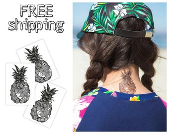 Set of 3 tatts «Sea fruit». Beach summer style black and white temporary tattoos with pineapple. Surf party bag supply. TT157