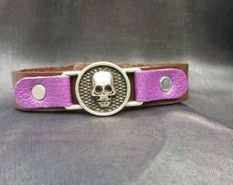 Skull Leather Bracelet accented with Purple Leather