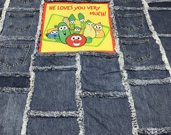 """He Loves You Very Much"""" Veggie Tales Rag Activity Blanket"""