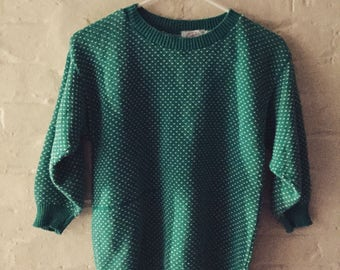 Vintage retro 1980s turquoise pullover size small