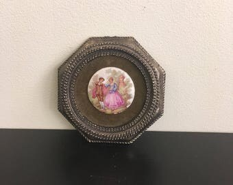 Fragonard Porcelain Courting Couple on Brass Frame,