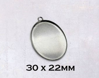 10 x Stainless Steel 22mm x 30mm Oval Cabochon Pendant Settings