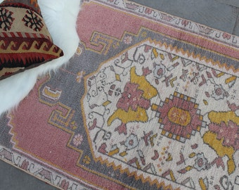 "Vintage Turkish Runner Rug, Handmade Anatolian Hallway Wool Turkish Pale Red Runner Rug, Pale Red Oushak Wool  Rug Runner 235x82cm,94""x33"""