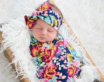 Baby swaddle / floral swaddle / newborn swaddle blanket / girl swaddle / swaddle set / headband OR beanie