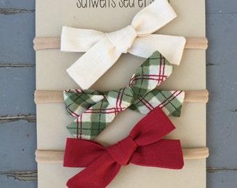 Christmas baby bow, hand tied bow, fabric bow headband, baby girl headband, nylon headband, baby headband, school girl bow, baby hair bow