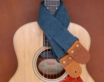 Deep Blue Denim Guitar Strap