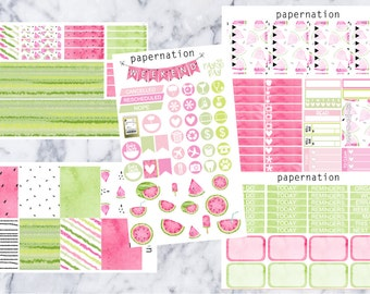 V-Watermelon Complete Weekly Kit //Vertical Planner Stickers