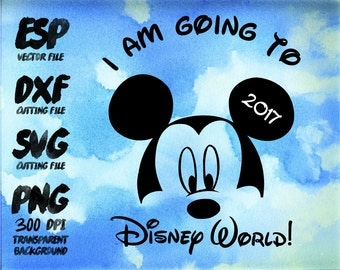 I am going to disney 2016 Mickey Clipart , SVG Cutting , ESP Vectors files , T shirt , iron on , sticker ,Personal Use