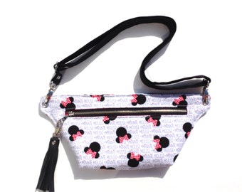 Fanny pack in mouse character print, hip pouch, hip bag, arrows fanny pack, fannie pack, festival pack
